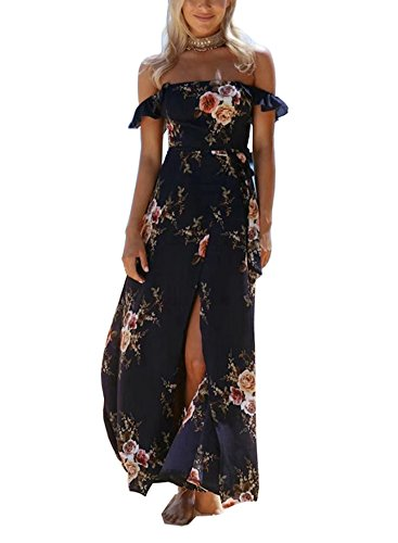 Foyean Women's Boho Off The Shoulder Floral Dress Split With Sleeve Casual Beach Maxi Dress FY0001-FC1135-NV-S