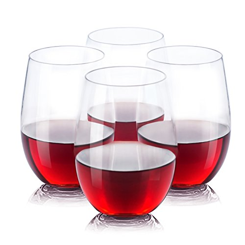 Vinostar Stemless Wine Glasses -100% Tritan- Premium Quality Glassware -BPA Free , Shatterproof , Unbreakable Plastic Crystal Clear Wine Tumbler Glasses- Dishwasher Safe -16 Oz- Set of 4 in a Gift Box