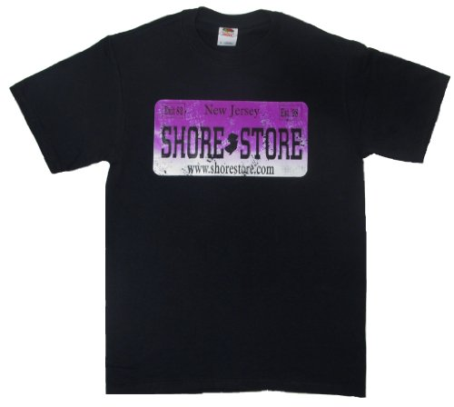 Shore Store Authentic Jersey Shore Merchandise License Plate Purple Distressed T-Shirt 386 2X Black (Jersey Shore Store)