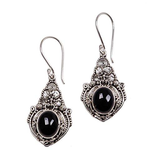NOVICA Onyx .925 Sterling Silver Dangle Earrings, Midnight Garden