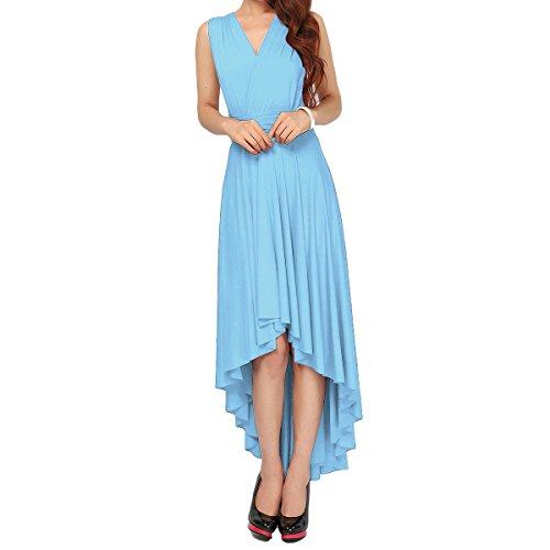 Longitud lo Piso Dresses de Azul Transformer de Cuello Multi Honor Verano Mujer Fiesta Dama Mangas Sin Larga Vestido Vendimia Hi V Noche Infinity Boho de Cóctel Maxi Manera Vestidos Elegante Cielo Falda xwB4xqSCp