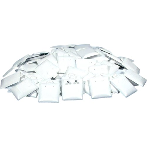 (FindingKing 100 Earring Display Cards Pads Puff White Posts Studs)