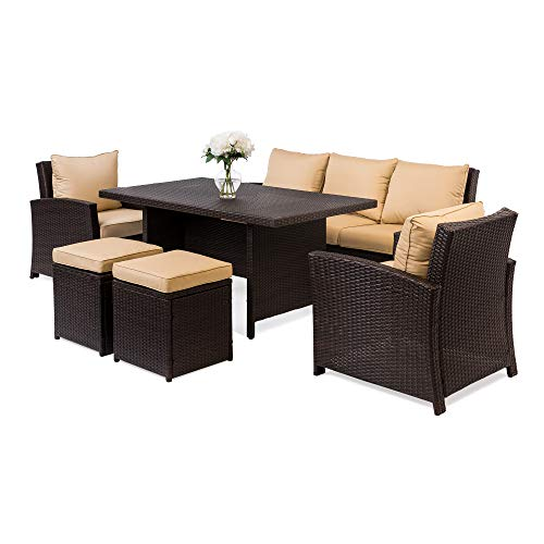 Best Choice Products 6-Piece Modular Patio Wicker Dining Sofa Set, Weather-Resistant Outdoor Living Furniture w/ 7 Seats, Cushions - Brown (Round Seat 6 Rattan Garden Furniture)