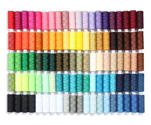 Sewing Thread Set of 100 All Purpose Polyester Threads, 250 Yards Per Spool in Assortment Colors Plus 4 Spools of Black and White Each, Good for Hand Stitching, Machine, Quilting & Crafts.
