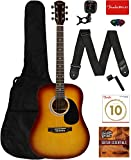 Fender Squier Dreadnought Acoustic Guitar - Sunburst Learn-to-Play Bundle with Gig Bag, Tuner, Strap, Strings, Picks, String Winder, Fender Play, and Austin Bazaar Instructional DVD: more info