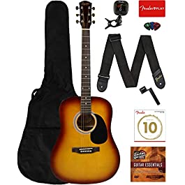 Fender Squier Dreadnought Acoustic Guitar – Sunburst Learn-to-Play Bundle with Gig Bag, Tuner, Strap, Strings, Picks…