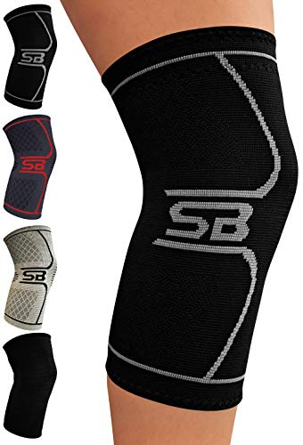 SB SOX Compression Knee Brace for Knee Pain - Braces and Supports Knee for Pain Relief, Meniscus Tear, Arthritis, Injury, Running, Joint Pain, Support (Small, Black/Gray)
