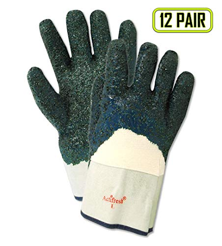 - Magid Glove & Safety 1591PR Magid MultiMaster Rough Nitrile Palm Coated Gloves, 12, Natural, Men's (Fits Large) (Pack of 12)
