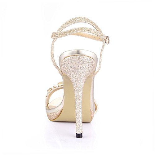 Dolphin Women's Rhinestone Open Toe 12CM High Heel Sandals with Ankle Strap Wedding Dress Pumps SM00007 Golden 3ldsCnaKZ