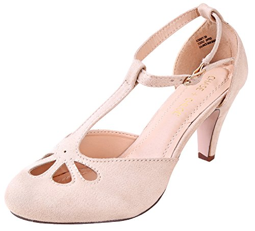 Pumps Vintage Suede (Chase and Chloe Women's Suede Teardrop Cut Out T-Strap Mid Heel Dress Pumps Nude 6 B(M) US)