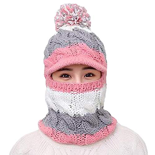 Longay Comforable Women Ladies Winter Hats Knit WarmHat Conjoined Cap Hat Set (Pink) -