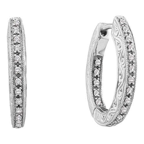 Mia Diamonds 14kt White Gold Womens Round Diamond Inside Outside Filigree Hoop Earrings (.25cttw) (I1-I2)