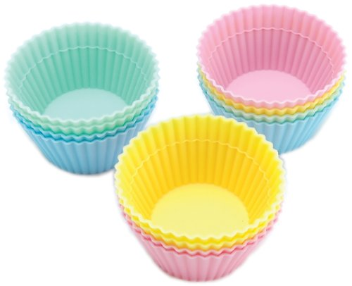 Wilton Round Silicone 12 Count Baking and Craft Cups, (Wilton Pastel)