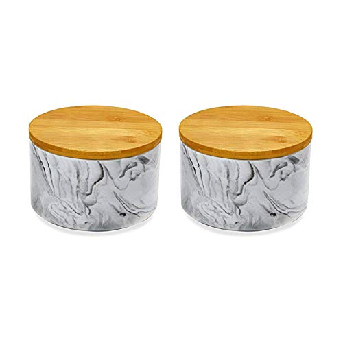 (2pc Porcelain Kitchen Canister Set with Bamboo Lids - Grey Marble Containers with Airtight Seal - Sugar, Coffee, Flour or Food Storage Jar - Hold 30 oz. 6