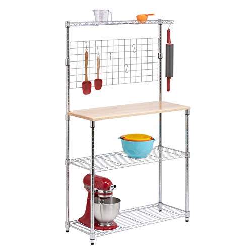 (Honey-Can-Do SHF-01608 Bakers Rack with Kitchen Storage, Steel and Wood)