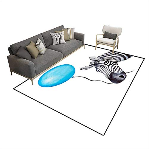 Kids Carpet Playmat Rug Funny Zebra Character Holds a String wi a Blue Holiday Balloon in mou 6'6