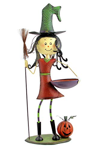 Halloween Candy Bowl Out On Porch (TisYourSeason 39 Inch Witch with Candy Bowl and Broom Halloween Decoration Porch Greeter Holiday)