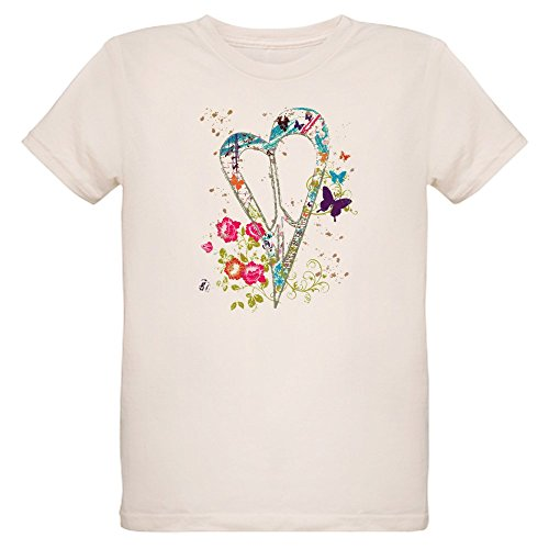 - Royal Lion Organic Kids T-Shirt Flowered Butterfly Heart Peace Symbol - Medium (10 Yrs)