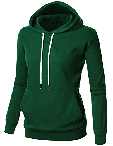 GIVON Womens Comfortable Long Sleeve Lightweight Hoodie with Kanga Pocket/DCF019-GREEN-S