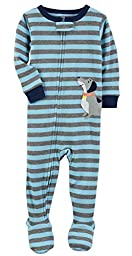 Carters Baby Boys 1-Piece Snug Fit Cotton Pajamas (12 Months, Striped Puppy)