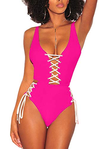 QINSEN Ladies Plus Size One Piece Swimwear Sexy Lace Up Side High Waisted Monokini Outfit Pink XL ()