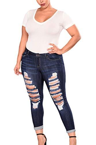 Matita Donne Vita Blu Alta Jeans Strappati Casual Taglia qqXH8