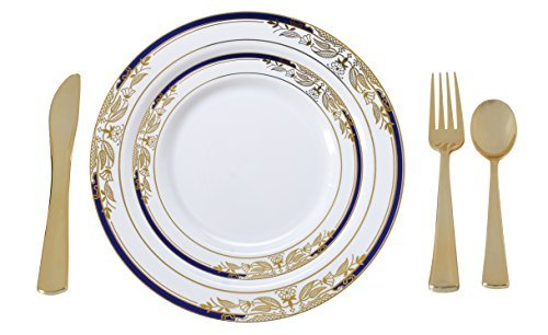 Plate Serving Pedestal (Plastic China Plate Silverware Combo Serving for 20 (115 piece set) Signature Blue)
