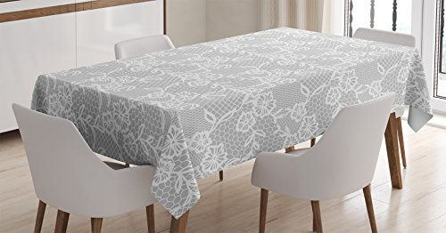 Ambesonne Grey Decor Tablecloth, Arabic Artwork Inspired Oriental Turkish Lace Pattern with Traditional Impression Image, Dining Room Kitchen Rectangular Table Cover, 60 W X 84 L inches, White