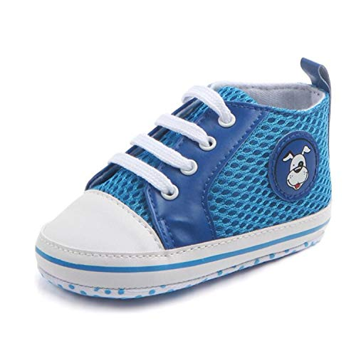 Baby boy Canvas Newborn Prewalker Shoes Soft Sole Shoes Toddler Girl Shoes for 0-18months Babies,Blue,7-12 Months