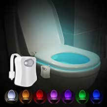 Motion Activated Toilet Night light, 8 Color Changing Led Toilet Seat Light Motion Sensor Colorful Nightlight by Reaeon