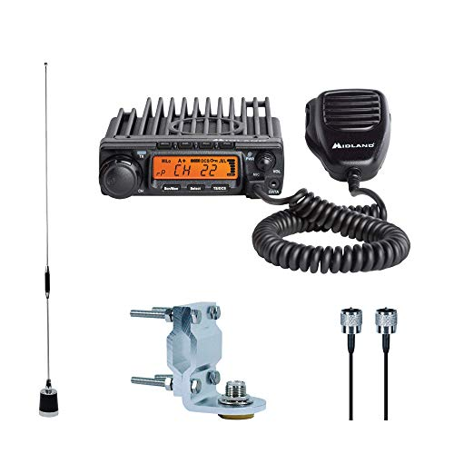 (Midland - MXT400VP3, MicroMobile Bundle - MXT400 Two-Way Radio w/ 8 Repeater Channels, 142 Privacy Codes & 6dB Gain Antenna w/Antenna Mounting Bracket, MXTA8 6M Antenna Cord (Single Pack) (Black))