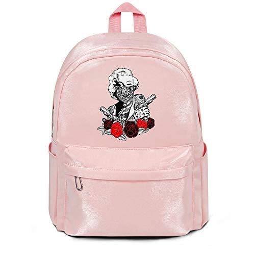 Womens Girl Boys College Bookbag Fashion Nylon Lightweight Travel Daypack Backpack Marilyn-Monroe-Rose-gun- Bag Purse Pink