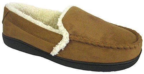 Hombre Coolers Brand Cálido Ante Sintético Zapatillas de piel sintética. Con logotipo bordado canela