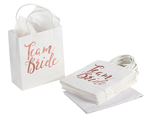 Bridesmaid Gift Bag - 15-Pack Team Bride White Paper Bag for Bachelorette Party Favors, Bridal Party Bags Includes Tissue Paper, Rose Gold Foil, 8 x 4 x 9 inches