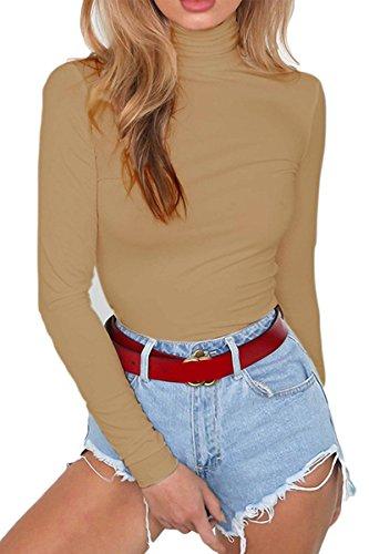 Meyeeka Womens High Collar Leotards Tight Long Sleeve Sexy Overalls Top Coffee L ()