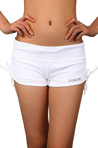 Cokar Solid White Boy Short Swimwear Women Bottoms L