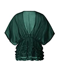 Quality Explosion Bikini Swimsuit Solid Color bat Sleeve Chiffon Blouse (Color : Green, Size : S)