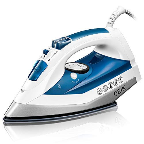 Iron, Deik 330ml Compact Steam Iron, Fast Uniform Heating, Scratch Resistant, Anti-Calc Non-stick Nanoceramic Soleplate, Variable Temperature, and Steam Setting, Anti-Drip, Self-Clean
