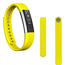 For Fitbit Alta,Haoricu Soft Silicone Watch band Wrist strap+ HD Protective Film (Yellow)