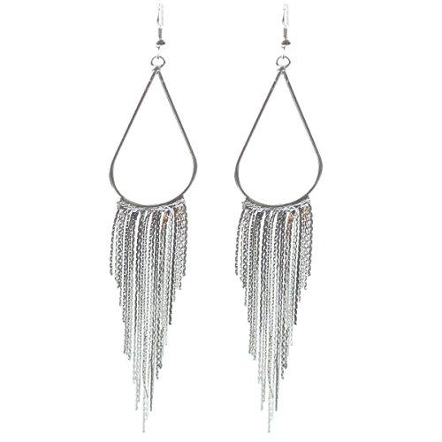 Tassel Fringe Earring 70's Retro Earrings Long Hoop for Mother's Day Gift