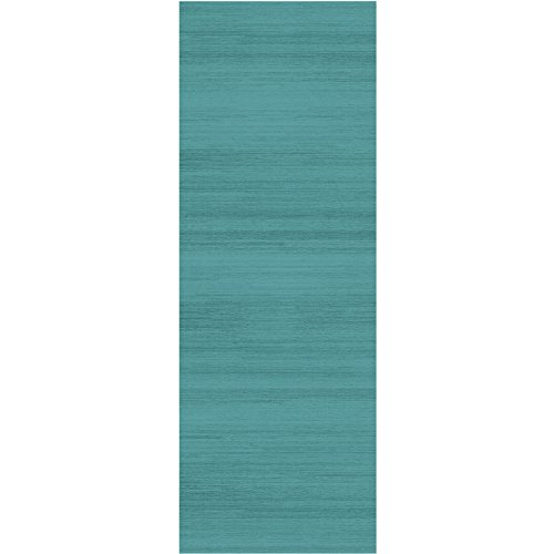 RUGGABLE Solid Textured Ocean Blue Washable Indoor/Outdoor Stain Resistant 2.5'x7' (30