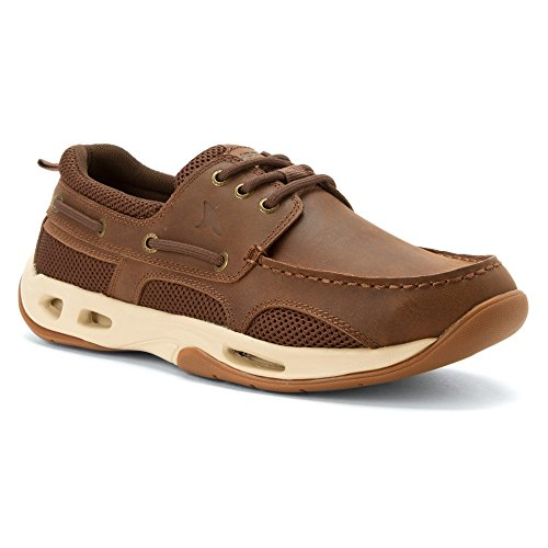 (Rugged Shark Men's Premium Tidalwave Comfort Boat Shoe with Drainage System,Brown,11.5 D(M) US)