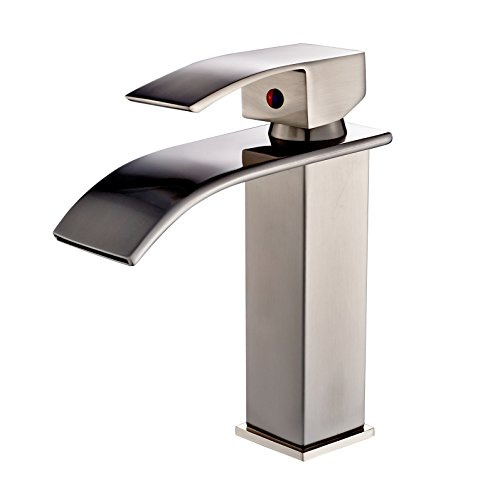 Rozin Brushed Nickel Finish Bathroom Sink Faucet Waterfall Spout Deck Mount Mixer Tap