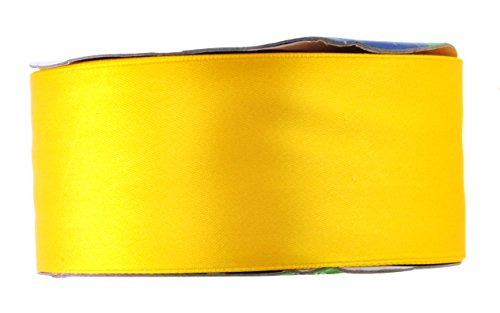 Mandala Crafts Fabric Satin Ribbon for Hair Bow Making, Sewing, Gift Wrapping, Flower Bouquets, Party Decorating, and Weddings (2 Inches 50 Yards, Yellow) ()