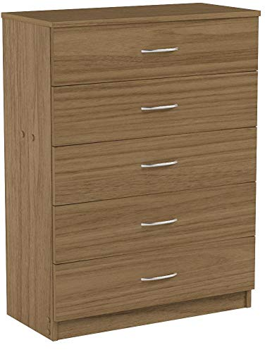 Devoted2Home Boldon Budget Bedroom Furniture with Chest of 5 Drawers, Wood, Oak Brown, 33 x 66.8 x 88.5 cm