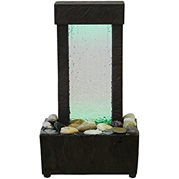 Natures Mark Cracked Glass Color Changing LED Relaxation Water Fountain with Authentic River Rocks
