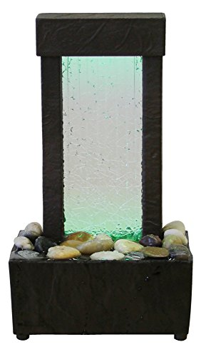 - Nature's Mark Cracked Glass Color Changing LED Relaxation Water Fountain with Authentic River Rocks 10026