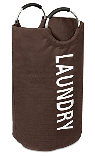 BirdRock Home Round Oxford Laundry Bag | Clothes Storage | Laundry Bin | College Student | Foldable | Brown
