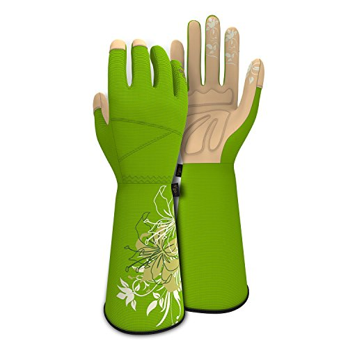 ic Leather Long Cuff Rose Garden Gloves(Size S/M/L)(Green) (Long Gardening Gloves)