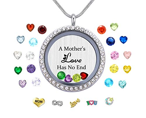 Veeshy A Mothers Love Has No End Floating Locket Necklace Pendant with Charms & 24PCS Birthstones, Mother's Day Birthday Xmas Gifts